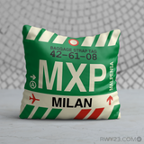 RWY23 - MXP Milan, Italy Airport Code Throw Pillow - Birthday Gift Christmas Gift