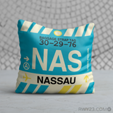 RWY23 - NAS Nassau, Bahamas Airport Code Throw Pillow - Birthday Gift Christmas Gift