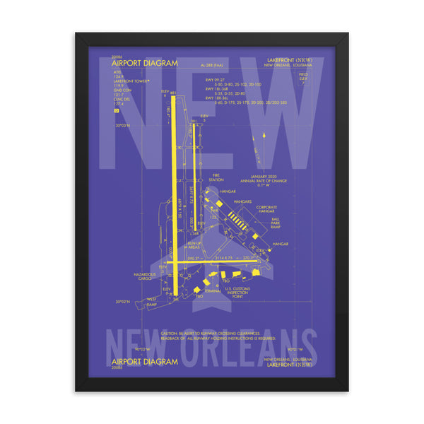 NEW New Orleans Framed Poster • Airport Diagram Design