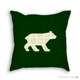 RWY23 Bear NPS Map Symbol Pictographs Throw Pillow (Dark Green) - Front