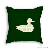 RWY23 Duck Throw Pillow - National Parks Service Symbols Design (Dark Green) - Front