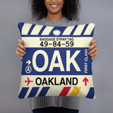 OAK Oakland Throw Pillow • Airport Code & Vintage Baggage Tag Design