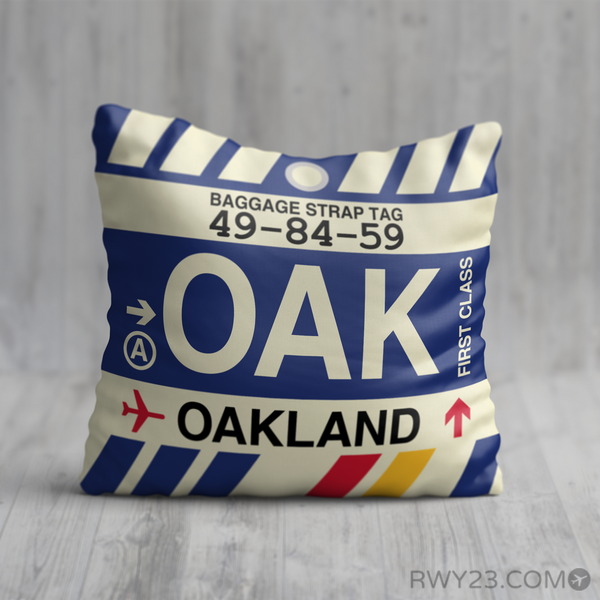 RWY23 - OAK Oakland, California Airport Code Throw Pillow - Birthday Gift Christmas Gift