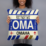 RWY23 - OMA Omaha, Nebraska Airport Code Throw Pillow - Birthday Gift Christmas Gift - Lady
