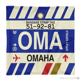 RWY23 - OMA Omaha, Nebraska Airport Code Throw Pillow - Aviation Gift Travel Gift