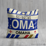 RWY23 - OMA Omaha, Nebraska Airport Code Throw Pillow - Birthday Gift Christmas Gift