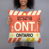 ONT Ontario Throw Pillow • Airport Code & Vintage Baggage Tag Design