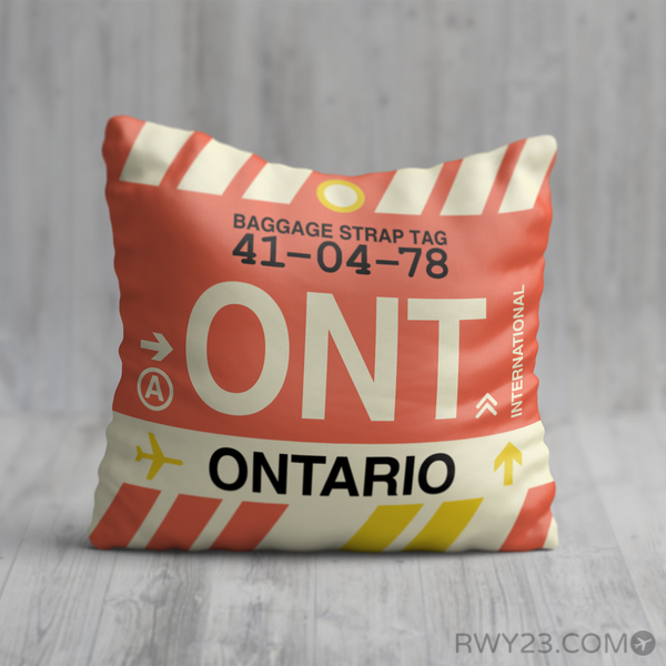 RWY23 - ONT Ontario, California Airport Code Throw Pillow - Birthday Gift Christmas Gift