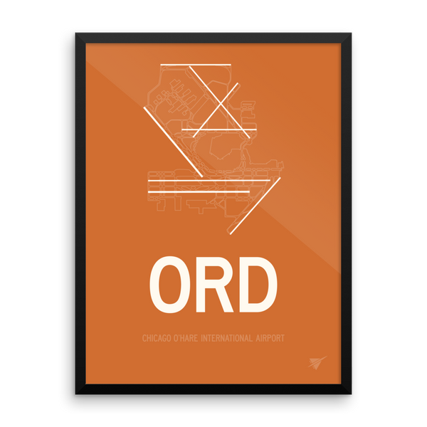 "RWY23 ORD Chicago (O'Hare) Airport Diagram Framed Poster 18""x24"" Wall"