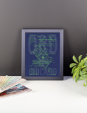 "RWY23 - ORD Chicago Airport Diagram Framed Poster - Aviation Art - Birthday Gift, Christmas Gift, Home and Office Decor  - 8""x10"" Desk"