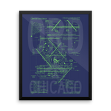 "RWY23 ORD Chicago Airport Diagram Framed Poster 16""x20"" Wall"