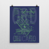 "RWY23 ORD Chicago Airport Diagram Poster 16""x20"" Wall"