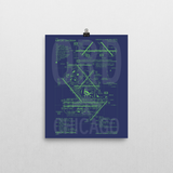 "RWY23 ORD Chicago Airport Diagram Poster 8""x10"" Wall"