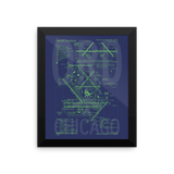 "RWY23 - ORD Chicago Airport Diagram Framed Poster - Aviation Art - Birthday Gift, Christmas Gift, Home and Office Decor  - 8""x10"" Wall"