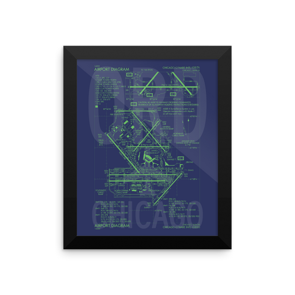 "RWY23 ORD Chicago Airport Diagram Framed Poster 8""x10"" Wall"