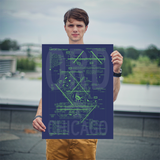 "RWY23 ORD Chicago Airport Diagram Poster 18""x24"" Person"