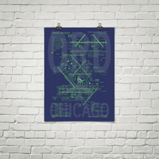"RWY23 ORD Chicago Airport Diagram Poster 18""x24"" Brick"