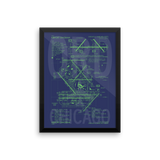 "RWY23 ORD Chicago Airport Diagram Framed Poster 12""x16"" Wall"