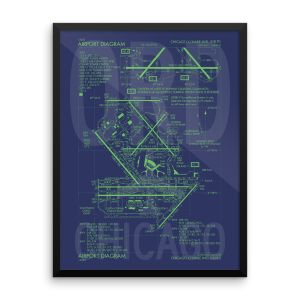 "RWY23 - ORD Chicago Airport Diagram Framed Poster - Aviation Art - Birthday Gift, Christmas Gift, Home and Office Decor - 18""x24"" Wall"