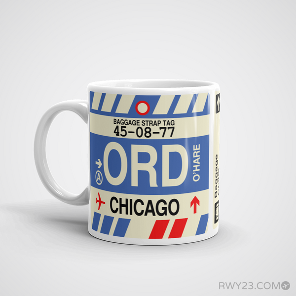 RWY23 - ORD Chicago, Illinois Airport Code Coffee Mug - Birthday Gift, Christmas Gift - Left