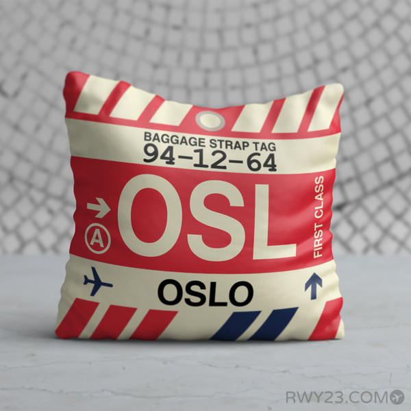 RWY23 - OSL Oslo, Norway Airport Code Throw Pillow - Birthday Gift Christmas Gift