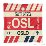RWY23 - OSL Oslo, Norway Airport Code Throw Pillow - Aviation Gift Travel Gift