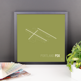"RWY23 - PDX Portland Airport Runway Diagram Framed Square Poster - Birthday Gift - Desk 14""x14"""