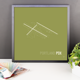 "RWY23 - PDX Portland Airport Runway Diagram Framed Square Poster - Christmas Gift - Desk 18""x18"""