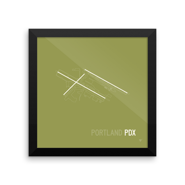 "RWY23 - PDX Portland Airport Runway Diagram Framed Square Poster - Aviation Gift - Wall 10""x10"""
