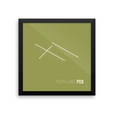 "RWY23 - PDX Portland Airport Runway Diagram Framed Square Poster - Travel Gift - Wall 12""x12"""