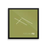 "RWY23 - PDX Portland Airport Runway Diagram Framed Square Poster - Airport Gift - Wall 16""x16"""