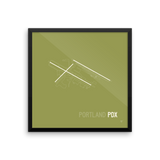 "RWY23 - PDX Portland Airport Runway Diagram Framed Square Poster - Housewarming Gift - Wall 18""x18"""