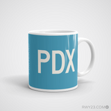 RWY23 - PDX Portland Coffee Mug - Airport Code and Runway Diagram Design - Aviation Gift Birthday Gift - Right