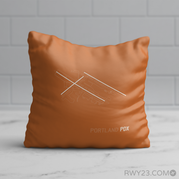 RWY23 - PDX Portland Throw Pillow - Airport Runway Diagram Design - Birthday Gift Christmas Gift