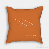 RWY23 - PDX Portland Throw Pillow - Airport Runway Diagram Design - Housewarming Gift Aviation Gift