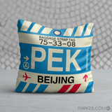 RWY23 - PEK Beijing, China Airport Code Throw Pillow - Birthday Gift Christmas Gift