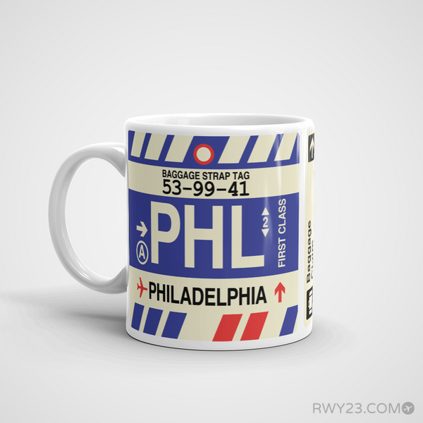 RWY23 - PHL Philadelphia Airport Code Coffee Mug - Birthday Gift, Christmas Gift - Left