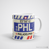 RWY23 - PHL Philadelphia Airport Code Coffee Mug - Graduation Gift, Housewarming Gift - Right