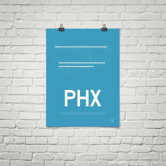 "RWY23 PHX Phoenix Airport Diagram Poster 18""x24"" Brick"