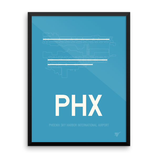 "RWY23 - PHX Phoenix Airport Runway Diagram Framed Rectangle Poster - Christmas Gift - 18""x24"" Wall"