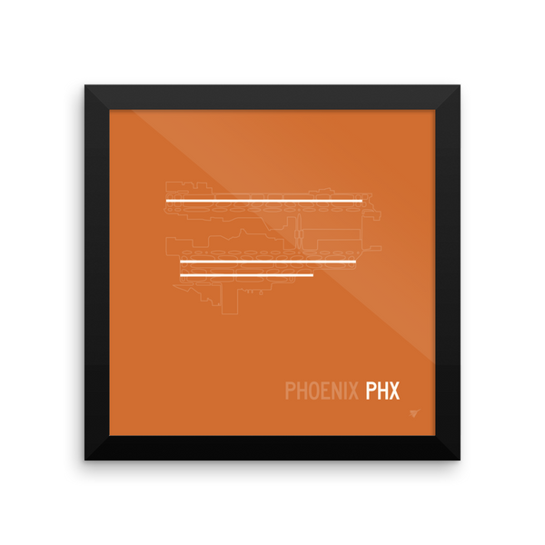 "RWY23 - PHX Phoenix Airport Runway Diagram Framed Square Poster - Aviation Gift - Wall 10""x10"""