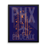 "RWY23 PHX Phoenix Airport Diagram Framed Poster 16""x20"" Wall"