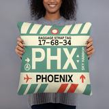 PHX Phoenix Throw Pillow • Airport Code & Vintage Baggage Tag Design