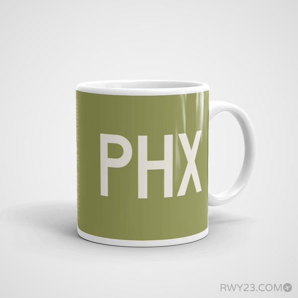 RWY23 - PHX Phoenix Coffee Mug - Airport Code and Runway Diagram Design - Aviation Gift Birthday Gift - Right