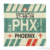RWY23 - PHX Phoenix, Arizona Airport Code Throw Pillow - Aviation Gift Travel Gift