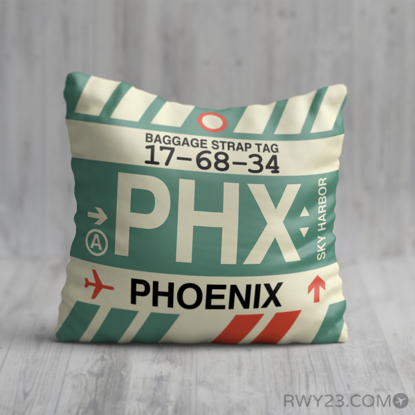 RWY23 - PHX Phoenix, Arizona Airport Code Throw Pillow - Birthday Gift Christmas Gift