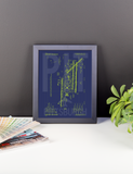 "RWY23 PIT Pittsburgh Airport Diagram Framed Poster 8""x10"" Desk"