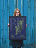 "RWY23 PIT Pittsburgh Airport Diagram Framed Poster 18""x24"" Person"