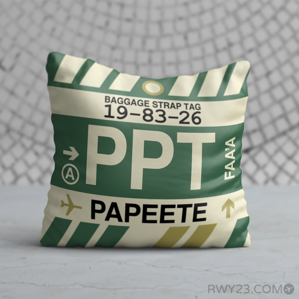 PPT Papeete Airport Code Throw Pillow - Vintage Baggage Tag Design