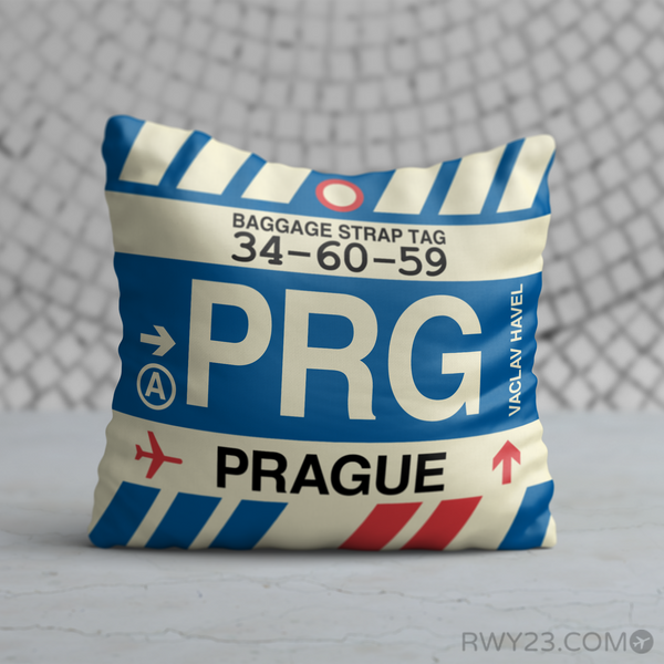 RWY23 - PRG Prague, Czech Republic Airport Code Throw Pillow - Birthday Gift Christmas Gift